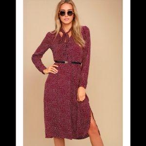 BNWOT Lulus Save a Spot polka dot burgundy dress